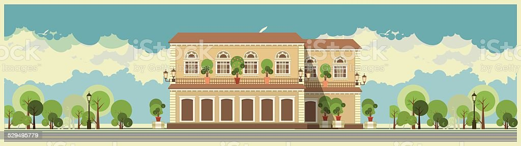 Building In The Park vector art illustration