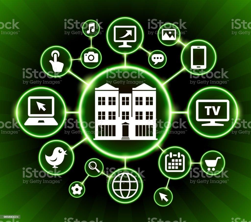 Gebouw Internet communicatie technologie donkere knoppen achtergrond - Royalty-free Achtergrond - Thema vectorkunst