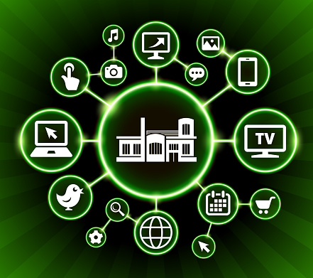 Gebouw Internet Communicatie Technologie Donkere Knoppen Achtergrond Stockvectorkunst en meer beelden van Achtergrond - Thema