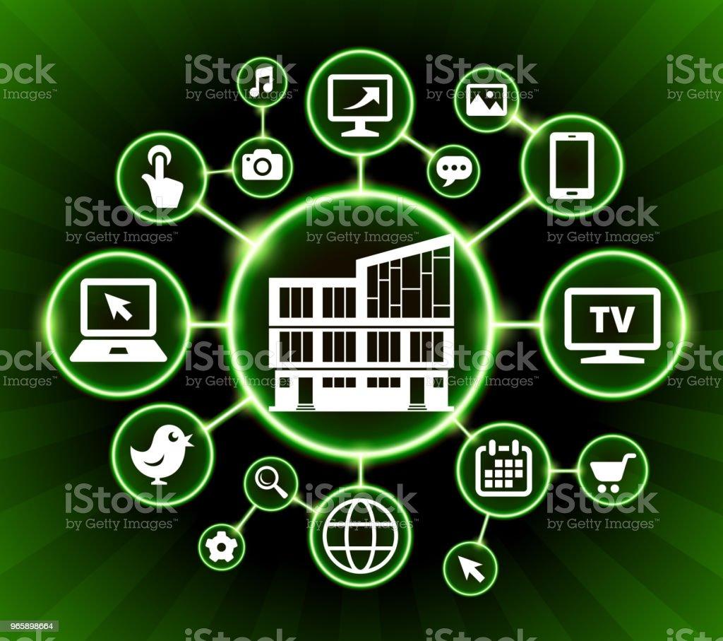 Building Internet Communication Technology Dark Buttons Background - Royalty-free Calendário arte vetorial