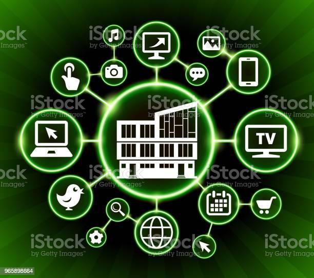 Building Internet Communication Technology Dark Buttons Background - Arte vetorial de stock e mais imagens de Carrinho de Compras