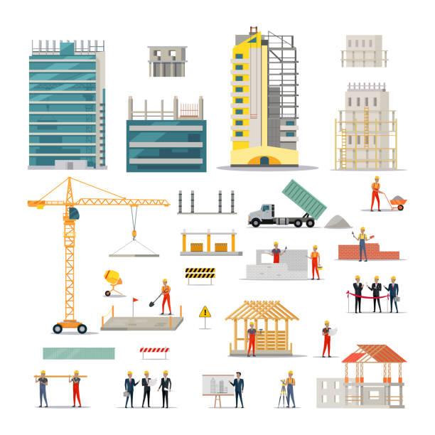 stockillustraties, clipart, cartoons en iconen met gebouw. soorten verschillende werken op de bouw - wolkenkrabber
