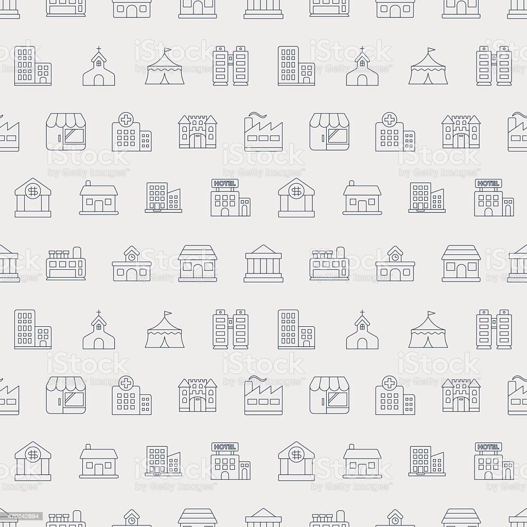 Building line icon pattern set vector art illustration
