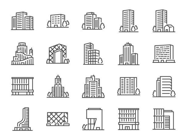 illustrazioni stock, clip art, cartoni animati e icone di tendenza di set di icone della linea di costruzione. icone incluse come paesaggio urbano, architettura, dimora, grattacielo, struttura e altro ancora. - edificio adibito a uffici