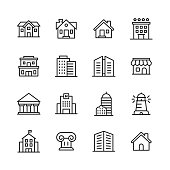 istock Building Line Icons. Editable Stroke. Pixel Perfect. For Mobile and Web. Contains such icons as Building, Architecture, Construction, Real Estate, House, Home, School, Hotel. 1158231448