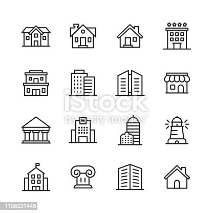 16 Building Outline Icons.