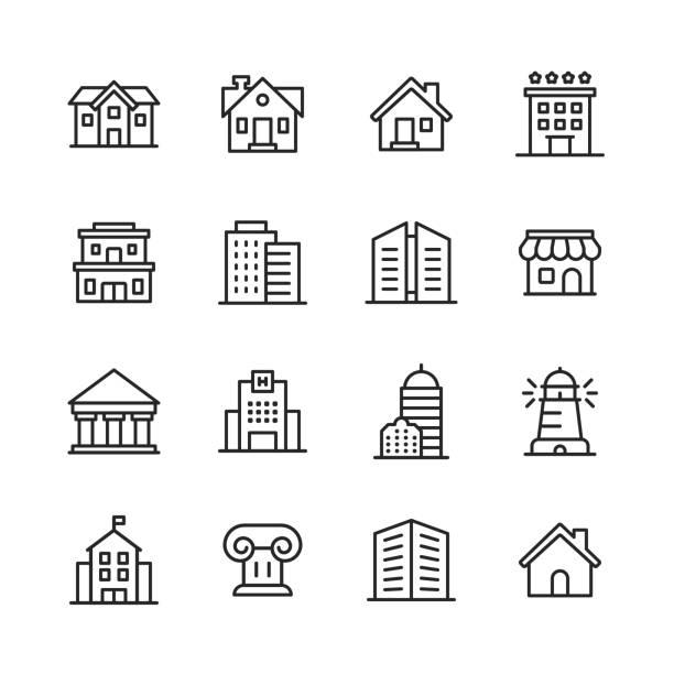 stockillustraties, clipart, cartoons en iconen met building line iconen. bewerkbare lijn. pixel perfect. voor mobiel en web. bevat pictogrammen zoals gebouw, architectuur, bouw, onroerend goed, huis, huis, school, hotel. - gebouw exterieur