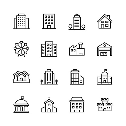 Building Line Icons. Editable Stroke. Pixel Perfect. For Mobile and Web. Contains such icons as Building, Architecture, Construction, Home, House, Factory, Garage, Church, Government, Castle.