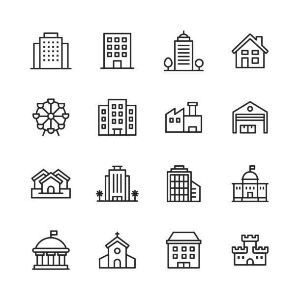 stockillustraties, clipart, cartoons en iconen met building line iconen. bewerkbare lijn. pixel perfect. voor mobiel en web. bevat pictogrammen zoals gebouw, architectuur, bouw, huis, huis, fabriek, garage, kerk, overheid, kasteel. - flat icons