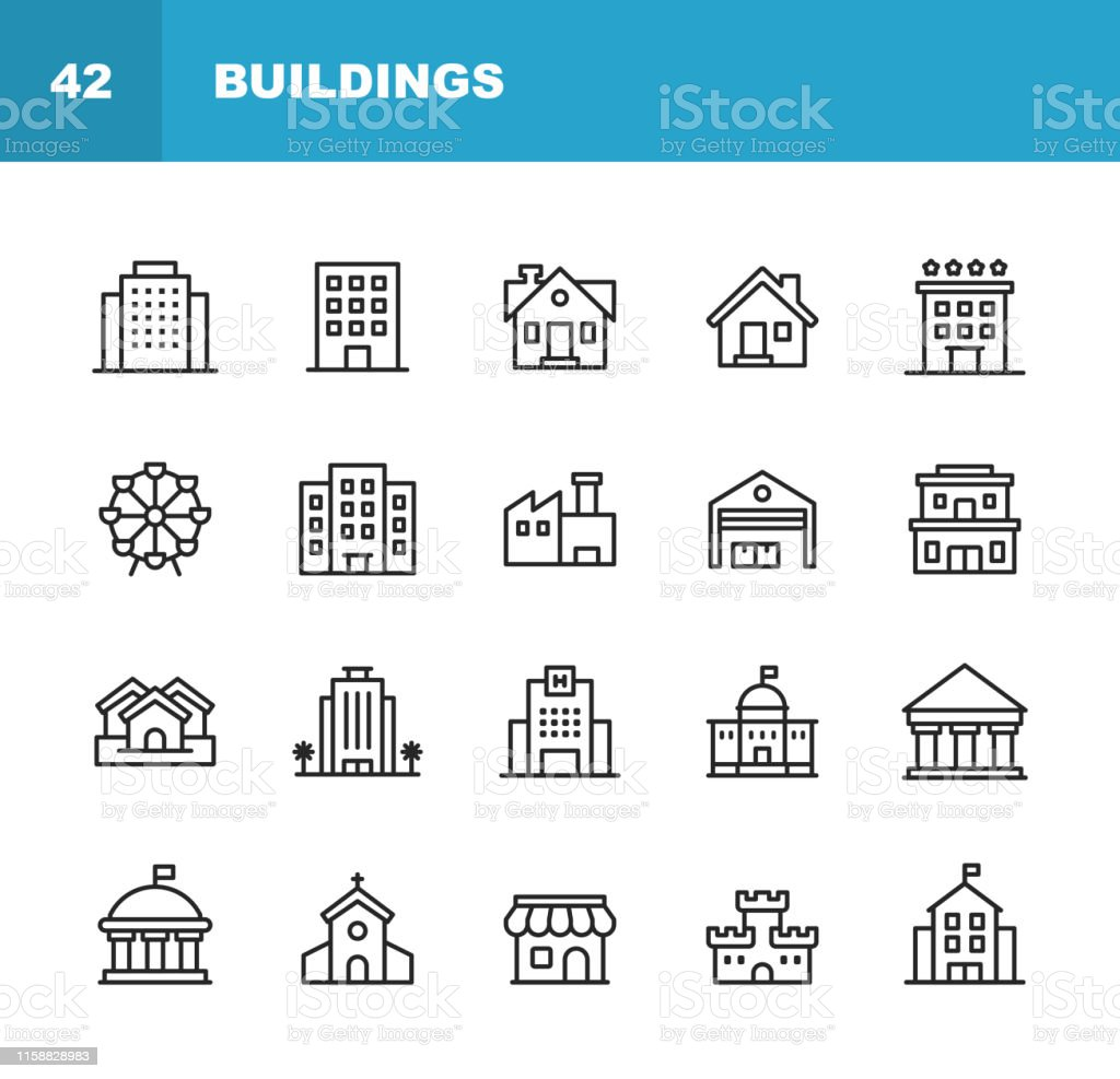 Building Line Icons. Editable Stroke. Pixel Perfect. For Mobile and Web. Contains such icons as Building, Architecture, Construction, Real Estate, House, Home, School, Hotel, Church, Castle. - Royalty-free Ao Ar Livre arte vetorial