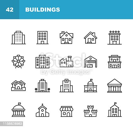 istock Building Line Icons. Editable Stroke. Pixel Perfect. For Mobile and Web. Contains such icons as Building, Architecture, Construction, Real Estate, House, Home, School, Hotel, Church, Castle. 1158828983