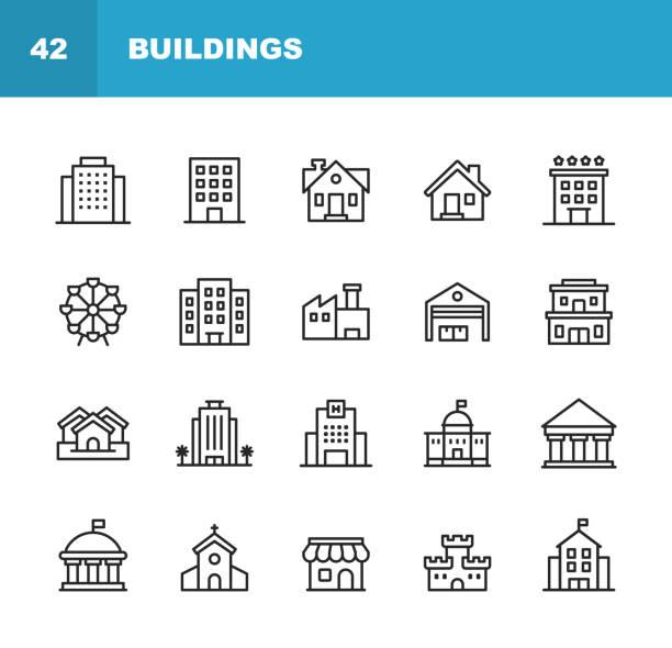 ilustrações, clipart, desenhos animados e ícones de ícones da linha do edifício. traçado editável. pixel perfeito. para mobile e web. contem tais ícones como o edifício, arquitetura, construção, bens imobiliários, casa, repouso, escola, hotel, igreja, castelo. - arranha céu