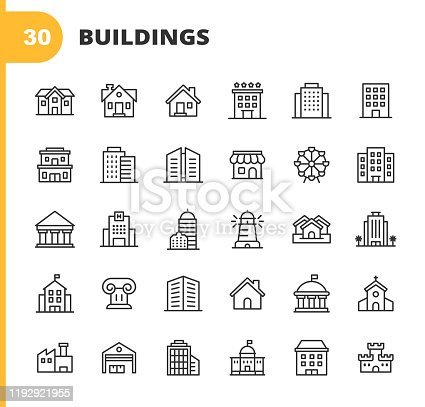 istock Building Line Icons. Editable Stroke. Pixel Perfect. For Mobile and Web. Contains such icons as Building, Architecture, Construction, Real Estate, House, Home, School, Hotel, Church, Castle. 1192921955