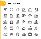 30 Building Outline Icons.