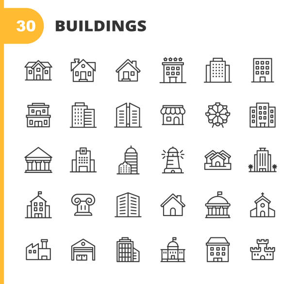 Building Line Icons. Editable Stroke. Pixel Perfect. For Mobile and Web. Contains such icons as Building, Architecture, Construction, Real Estate, House, Home, School, Hotel, Church, Castle. vector art illustration