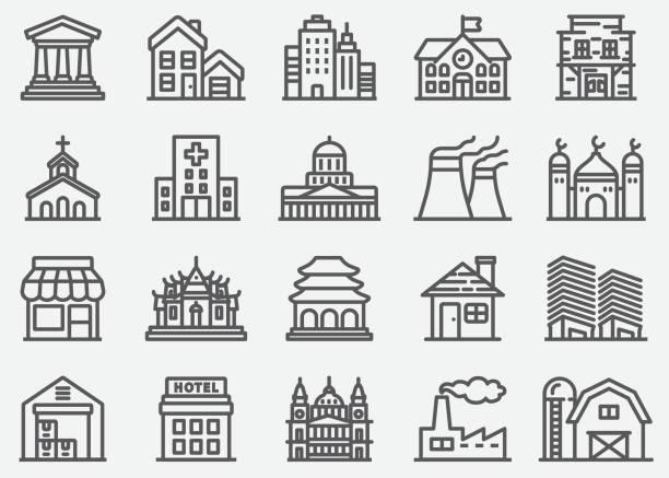 ilustrações de stock, clip art, desenhos animados e ícones de building line icons - house garage