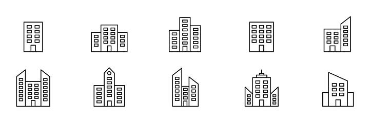 Building line set icon.