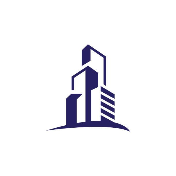 stockillustraties, clipart, cartoons en iconen met gebouw logo design in moderne grafische stijl - wolkenkrabber