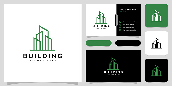 Building logo with line art style and business card