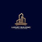 Building Luxury Illustration Vector Template. Suitable for Creative Industry, Multimedia, entertainment, Educations, Shop, and any related business