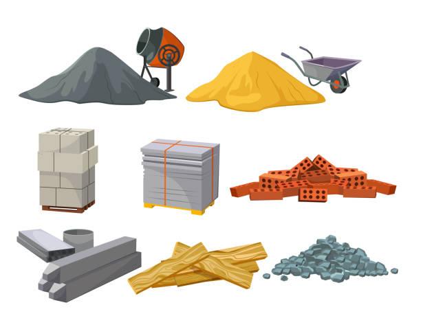 ilustrações de stock, clip art, desenhos animados e ícones de building material heaps set - material de construção