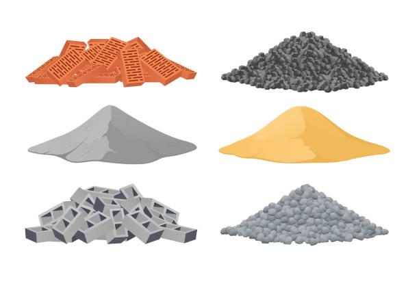 ilustraciones, imágenes clip art, dibujos animados e iconos de stock de materiales de construcción, una pila de ladrillos, cemento, arena, bloques, piedras en el fondo blanco. ilustración de vector - arena