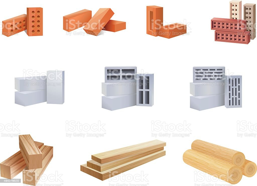 Building Materials Icons - Illustration royalty-free building materials icons illustration stock illustration - download image now