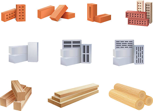 Building Materials Icons - Illustration vector art illustration