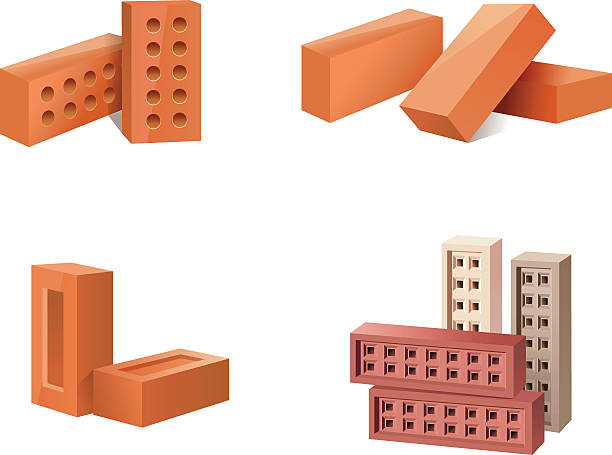Building Materials Icons Vector Art Illustration Wall Of Bricks Icon Cartoon Style