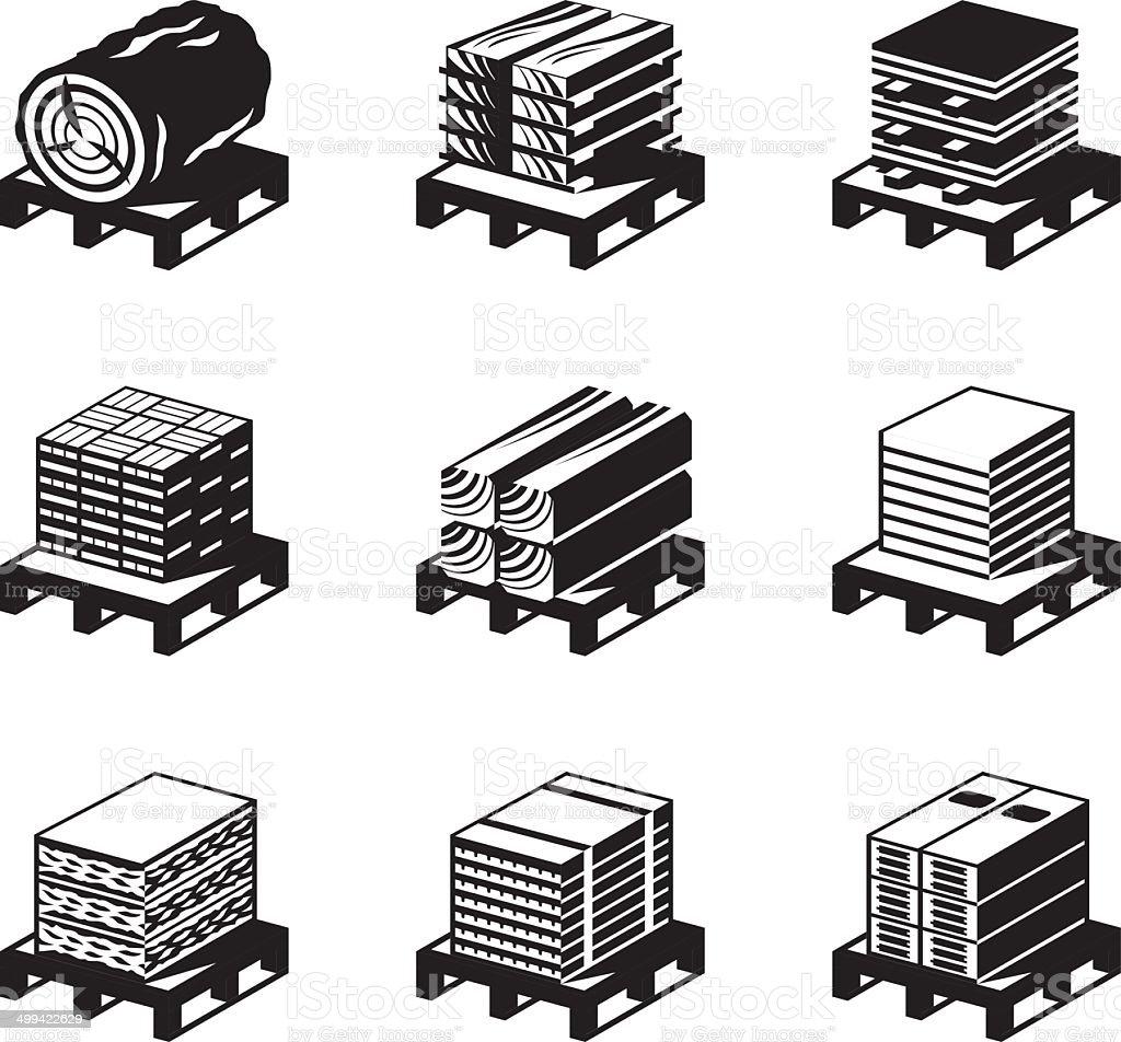 Building materials of wood vector art illustration