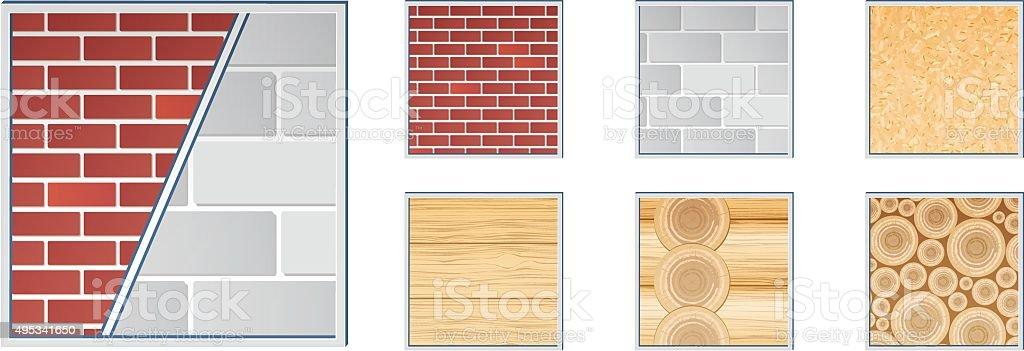 Building materials textures - Illustration vector art illustration