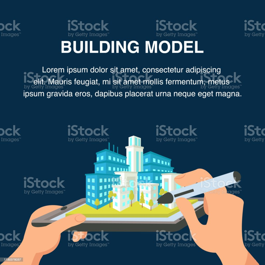 Building Model Website Banner. 3d Cityscape vector art illustration