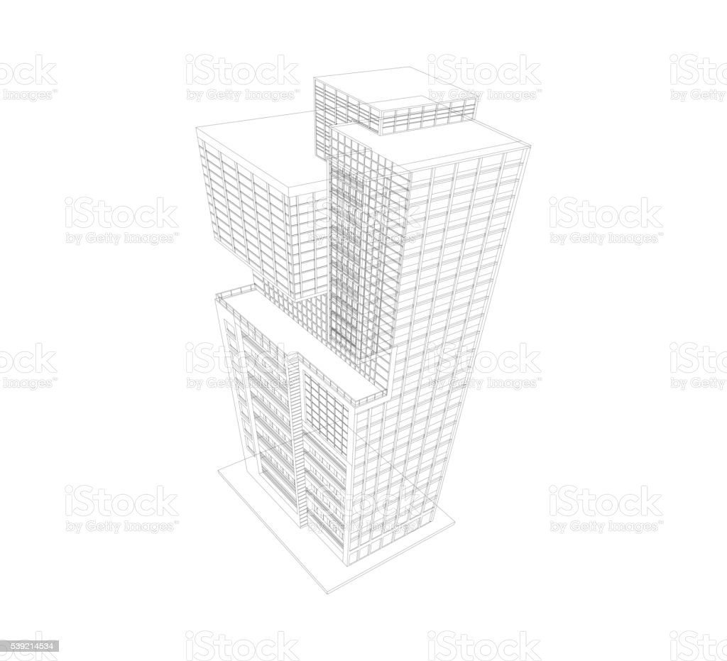 Building modern wireframe vector art illustration