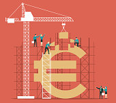 Business team construction crane and building money. Investment and success concept.