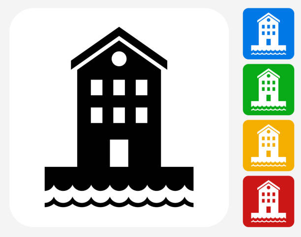 Building near Water Icon Flat Graphic Design Building near Water Icon. This 100% royalty free vector illustration features the main icon pictured in black inside a white square. The alternative color options in blue, green, yellow and red are on the right of the icon and are arranged in a vertical column. waterfront stock illustrations