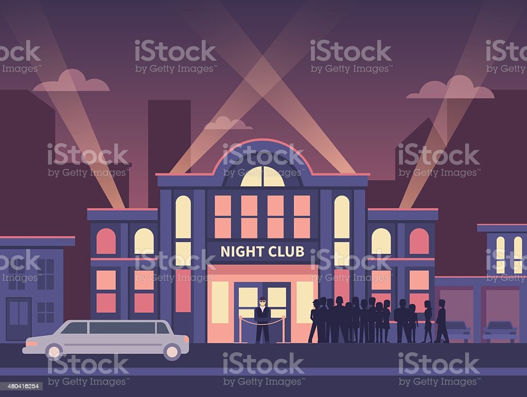 Building Night Club with Queue at the Entrance vector art illustration