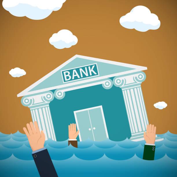 gebäude der bank ertrinken im meer. - geldstrafe stock-grafiken, -clipart, -cartoons und -symbole