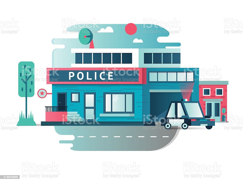 Building of the Police Department vector art illustration