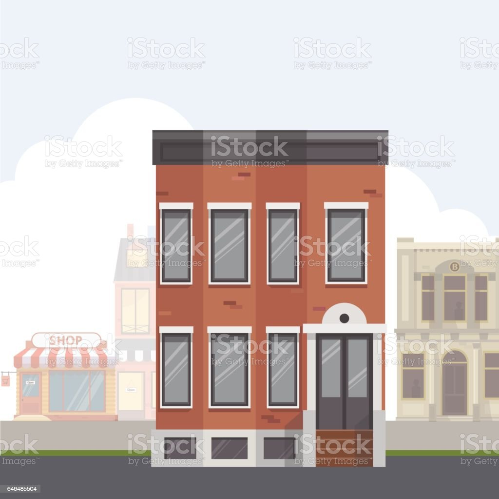 Brick Apartment Building Illustration. Building on the street City with urban buildings Flat vector  illustration royalty On The Streetcity Street With Urban Buildingsflat Vector