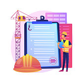 istock Building permit abstract concept vector illustration. 1287251190