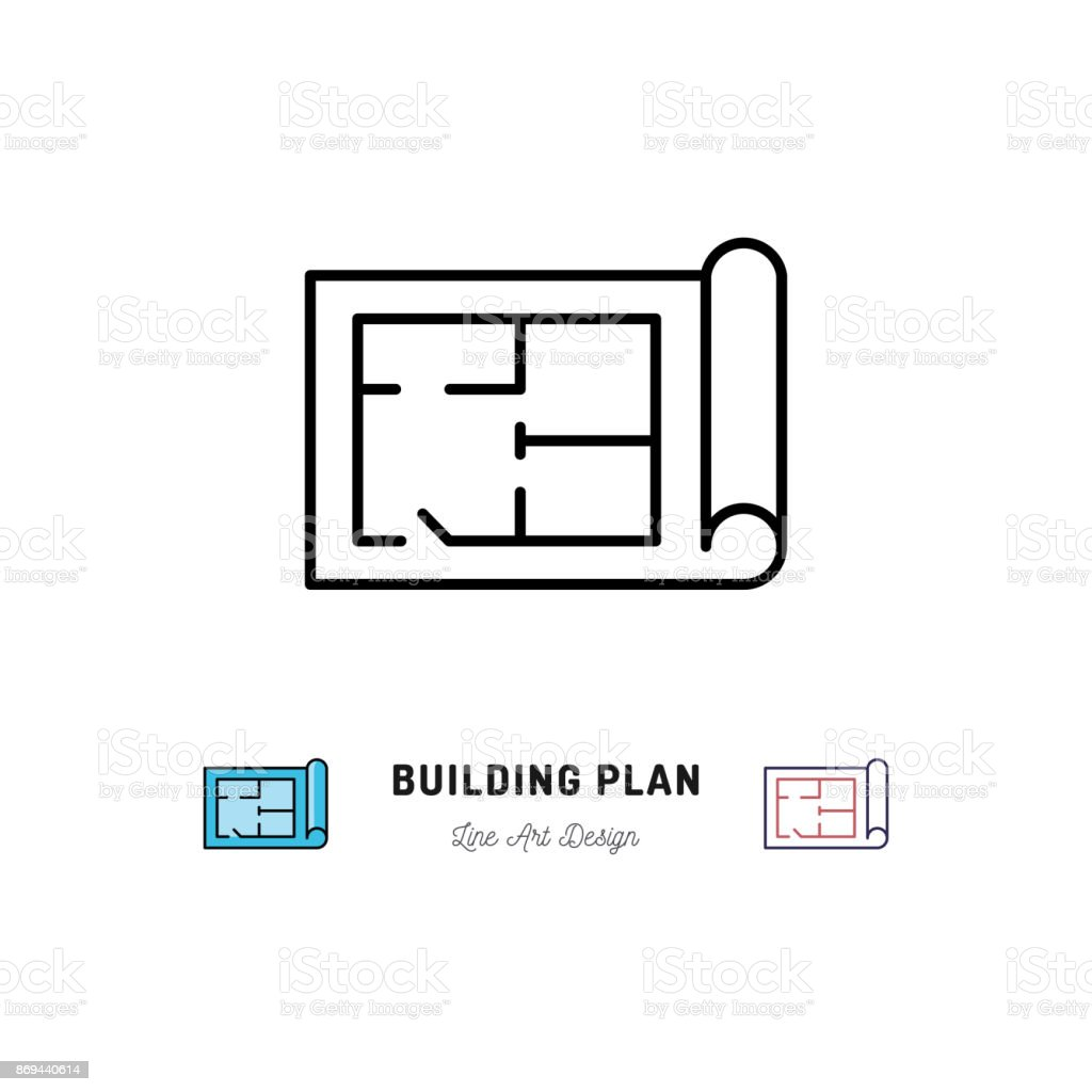 Building Plan Icon Outline Symbol Of Construction And Repair Stock