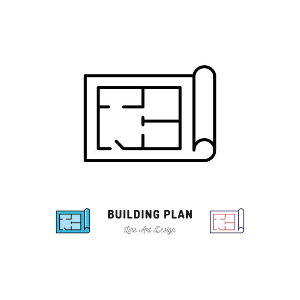 Building plan icon, Outline symbol of construction and repair Building plan icon, Outline symbol of construction and repair. Vector flat illustration interior designer stock illustrations