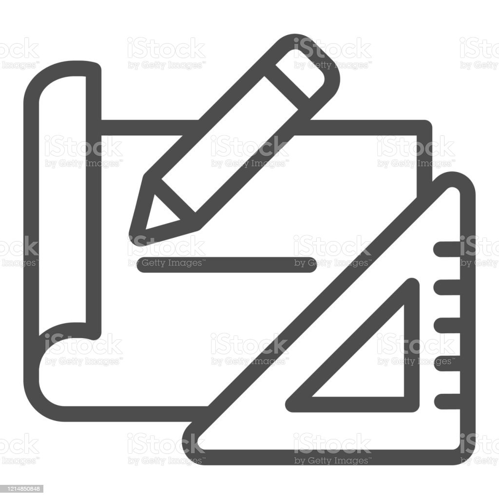https www istockphoto com vector building plan line icon project tools paper with pencil and ruler symbol outline gm1214850848 353613002