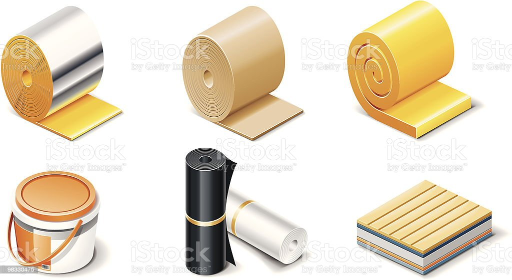 Building products icons. Insulation vector art illustration