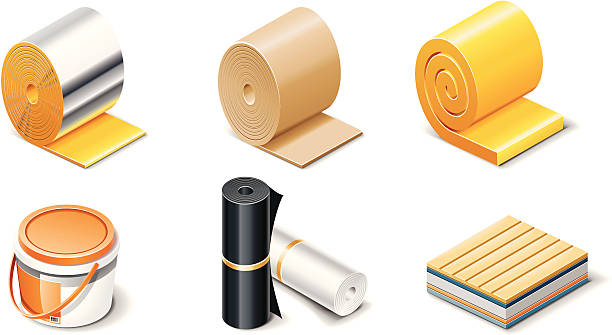 building products icons. insulation - aluminum foil roll stock illustrations, clip art, cartoons, & icons
