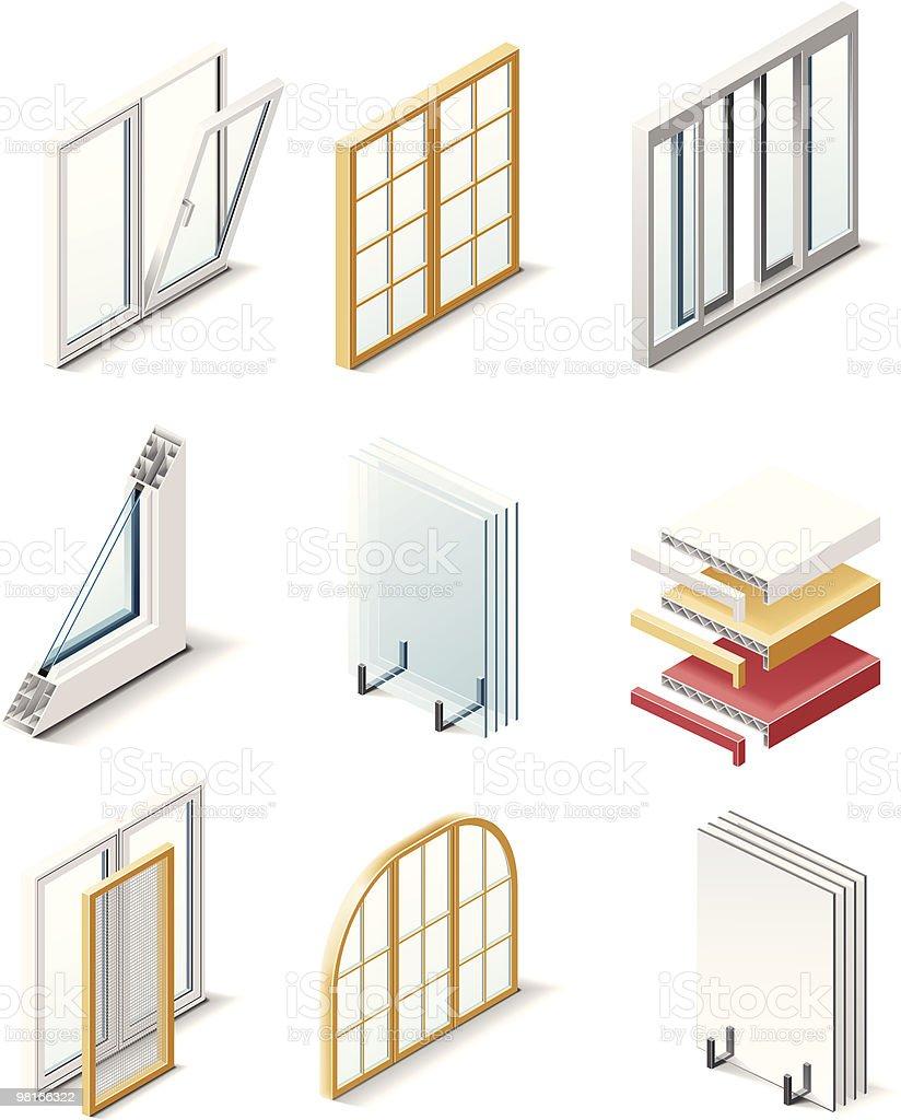 Icone di prodotti per l'edilizia. Windows icone di prodotti per ledilizia windows - immagini vettoriali stock e altre immagini di alluminio royalty-free
