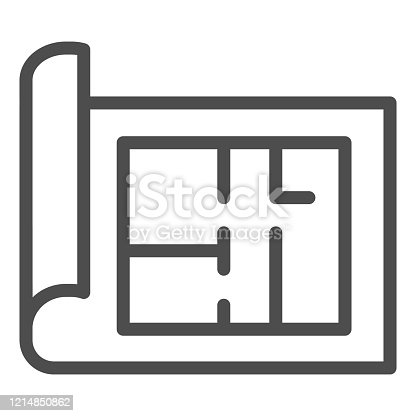 Building project line icon. House blueprint paper or home plan page symbol, outline style pictogram on white background. Construction sign for mobile concept and web design. Vector graphics