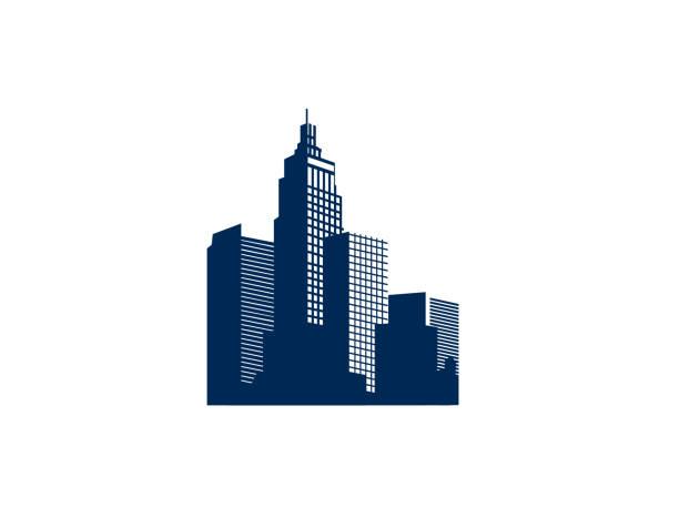 stockillustraties, clipart, cartoons en iconen met gebouw vastgoed illustratie - wolkenkrabber