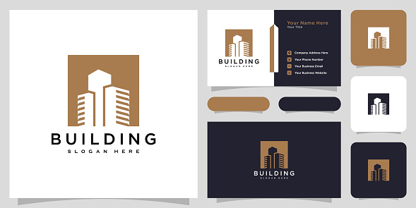 building real estate logo design vector and business card