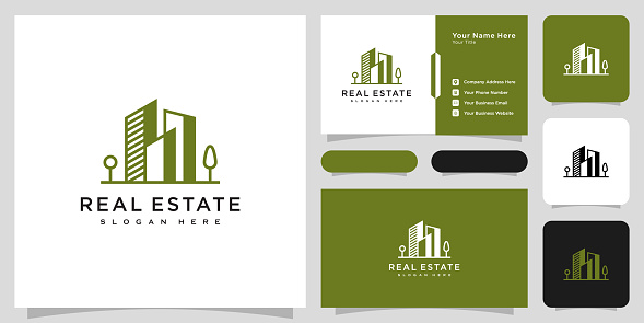 building real estate logo vector line style and business card